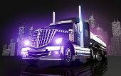 stock photo of tank truck  - Violet Glowing Tanker Truck and the City Skyline 3D Illustration - JPG