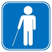 image of blind man  - Blind disabled sign on white background - JPG