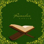picture of quran sharif  - Open religious islamic book Quran Shareef on golden floral decorated green background for holy month of Muslim community Ramadan Kareem - JPG