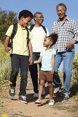 stock photo of pacific islander ethnicity  - Grandparents and grandchildren on country hike - JPG