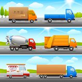picture of lorries  - Realistic truck lorry transport van auto set on road outdoor background vector illustration - JPG