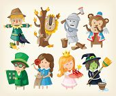 foto of toy dog  - Set of cartoon toy personages from fairy tales - JPG