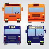 picture of motor coach  - 4 various types of color buses eps10 - JPG