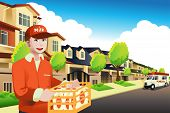 stock photo of milkman  - A vector illustration of milk delivery man delivering to a house - JPG