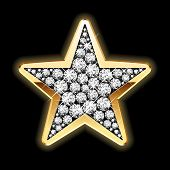 picture of rap  - Detailed vector illustration of a star in diamonds - JPG