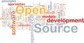 foto of open-source  - Background concept word cloud illustration of open source license - JPG