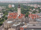 stock photo of leipzig  - Aerial view of the Leipzig Neues Rathaus meaning New Town Hall is the seat of the Leipzig city administration designed by Hugo Licht in 1897 - JPG