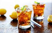 stock photo of iced-tea  - panoramic photo with sweet iced tea - JPG