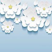 stock photo of sakura  - 3d flowers sakura white trendy beautiful wallpaper - JPG