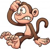 picture of monkeys  - Confused cartoon monkey - JPG