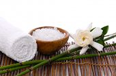 stock photo of gardenia  - Spa setting with towel and - JPG