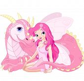 stock photo of dragon head  - Beautiful Magic Dragon and Beautiful Fairy - JPG
