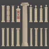 stock photo of greek-architecture  - pillar column antique ancient old roman greek architecture vector set - JPG