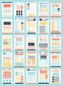 Vector collection of flat website templates on blue background. poster