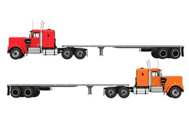 image of truck-stop  - Flat Trailer Trucks Isolated on Solid White Background - JPG