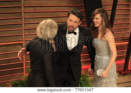 LOS ANGELES - MAR 2:  Glenn Close, Ben Affleck, Jennifer Garner at the 2014 Vanity Fair Oscar Party at the Sunset Boulevard on March 2, 2014 in West Hollywood, CA
