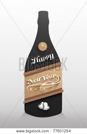 Digitally generated New years message on champagne bottle vector