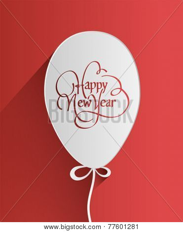 Digitally generated Happy new year design in balloon