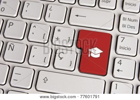 Education Concept, Graduate Hat Keyboard Key.
