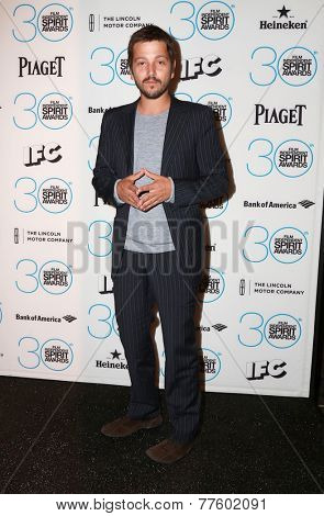 LOS ANGELES - NOV 25:  Diego Luna at the Film Independent Spirit Award Nominations at the W Hotel Hollywood on November 25, 2014 in Los Angeles, CA