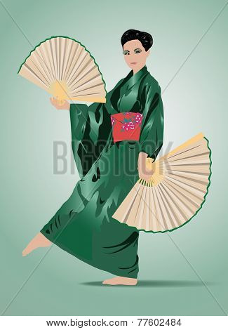 Young traditional japanese woman in green dress with fans. EPS 10 format.