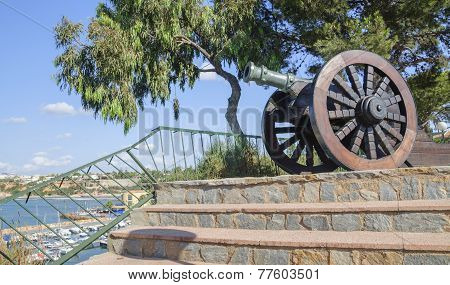 Old Cannon On Display In A Cafe In Cabo Roig Marina