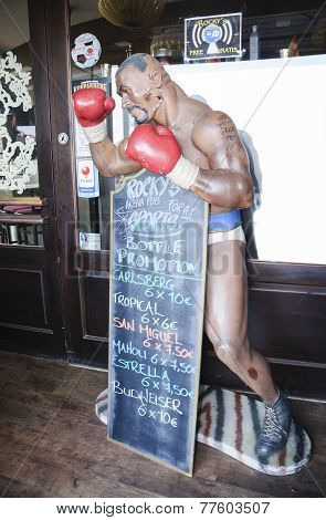 Boxing Mannequin In An Entrance At Rocky's Arena Pub In Playa Flamenca