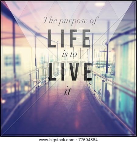 Inspirational Typographic Quote - The purpose of life is to live it