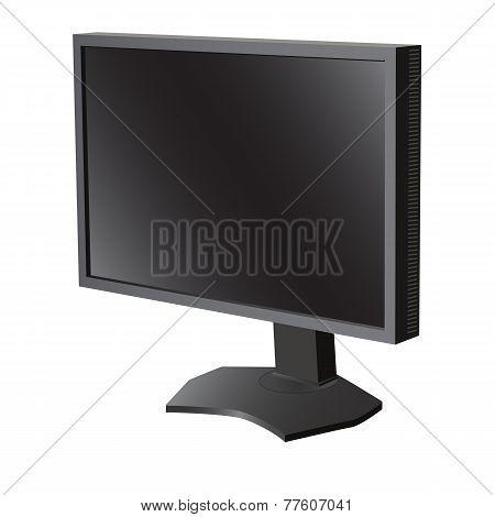 Black lcd tv  monitor on white background. Vector illustration