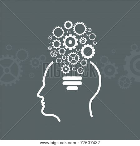 Head With Gears Icon From The Shape of Light Bulbs