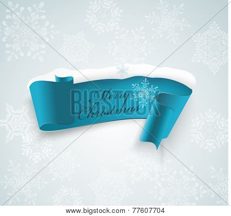Winter Banner, Blue Realistic Ribbon And Snow.
