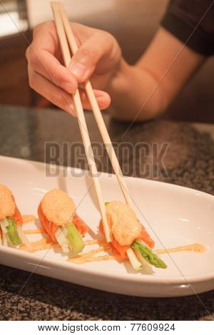 Salmon Mentai Sauce  On White Plate