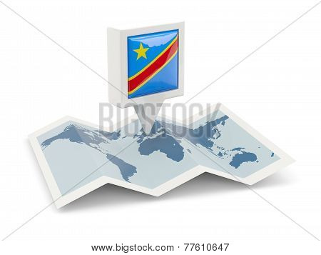 Square Pin With Flag Of Democratic Republic Of The Congo On The Map