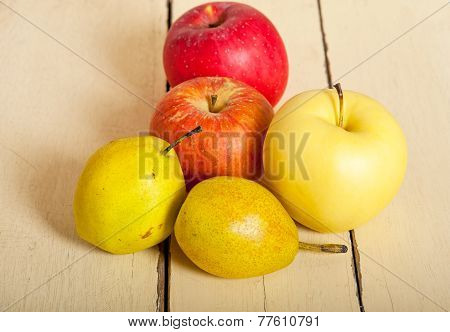 Fresh Fruits Apples And  Pears