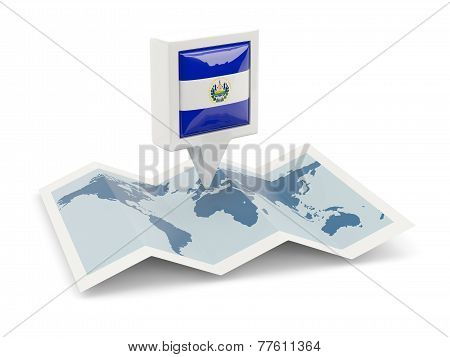 Square Pin With Flag Of El Salvador On The Map