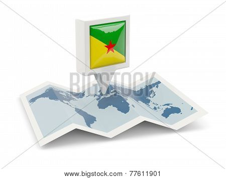 Square Pin With Flag Of French Guiana On The Map