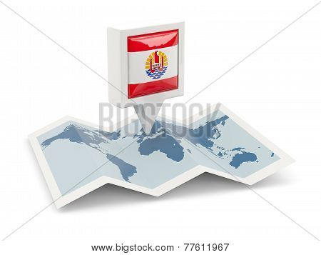 Square Pin With Flag Of French Polynesia On The Map