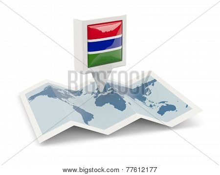 Square Pin With Flag Of Gambia On The Map
