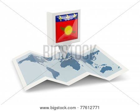 Square Pin With Flag Of Guadeloupe On The Map