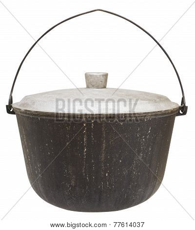 Camping Sooty Pot Isolated On White