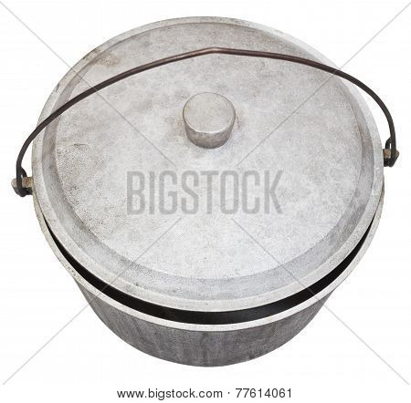 Top View Of Camping Sooty Pot Isolated On White