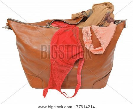 Ajar Leather Bag With Bra And Pink Lace Panties