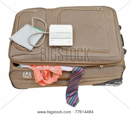 Sphygmomanometer On Suitcase With Tie And Panties