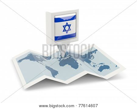Square Pin With Flag Of Israel On The Map