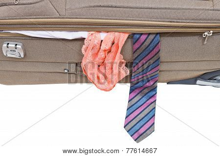 Male Tie And Female Panties From Suitcase