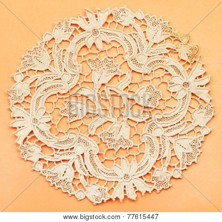 Placemat From Dutch Lace Embroidered By Needle