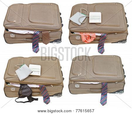 Set Of Suitcases With Ladies And Business Clothes