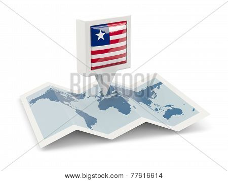 Square Pin With Flag Of Liberia On The Map