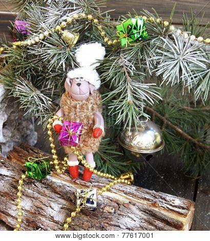 Christmas fur-tree toy sheep symbol 2015