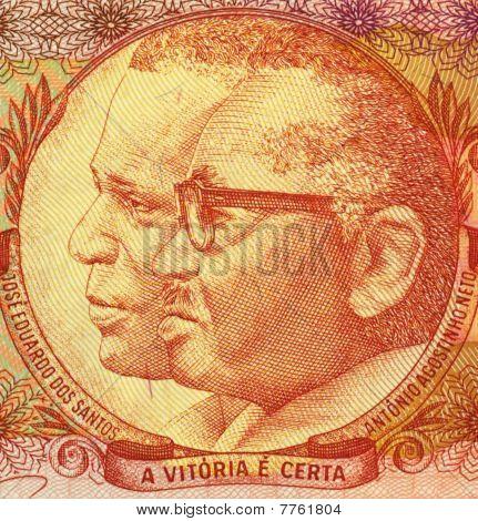 ANGOLA - CIRCA 1991: Jose Eduardo Dos Santos And Antonio Agostinho Neto